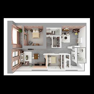 W2-E + DEN Floor plan layout