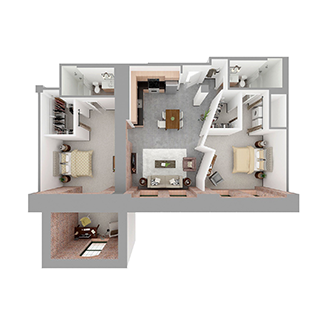 W2-C + DEN Floor plan layout
