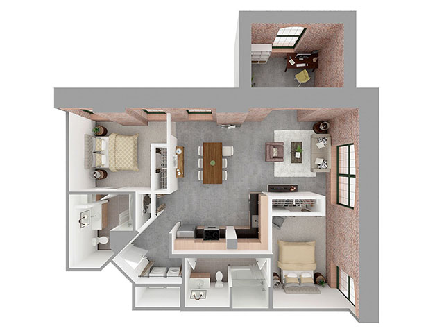 F2-B + DEN Floor plan layout