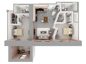 W2-C + DEN Floor plan layout