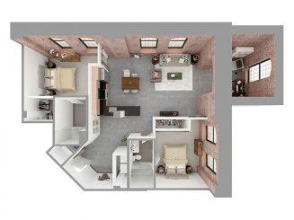 W2-D + DEN Floor plan layout